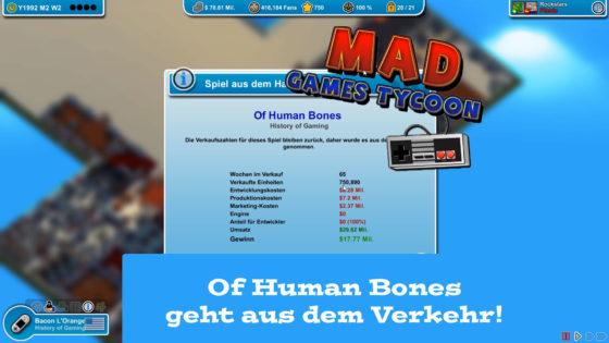 Mad Games Tycoon – #46 – Of Human Bones geht aus dem Verkehr!